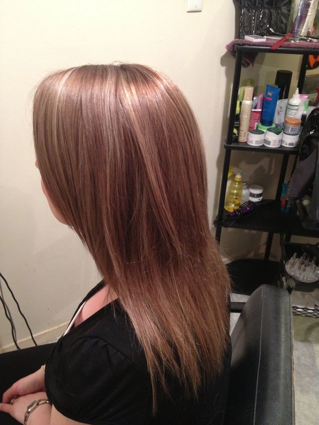 light brown with blonde foils