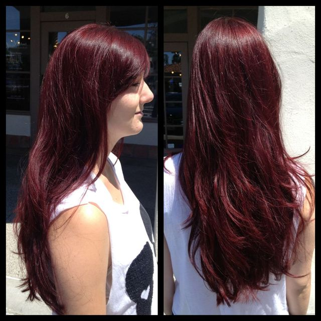 long-layered dark red