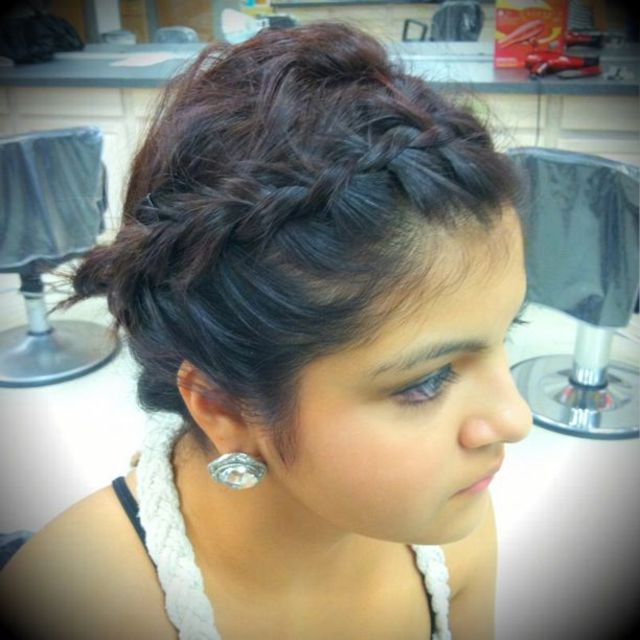 messy updo with French braids