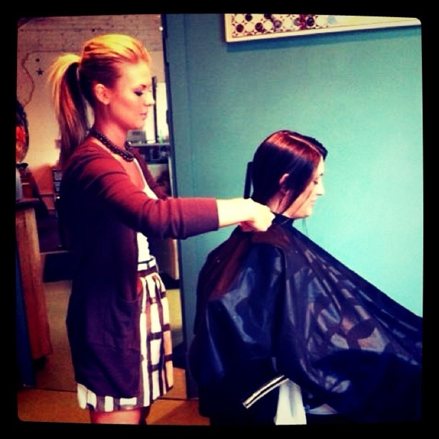One of our stylists MiKel working hard....