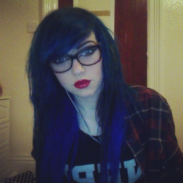 my hair. it's blue.