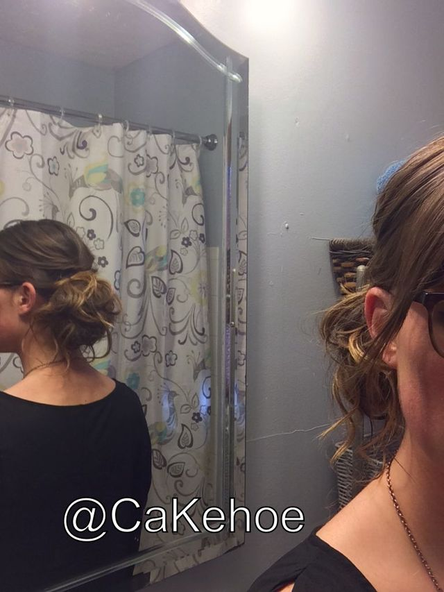 my hair, low side bun
