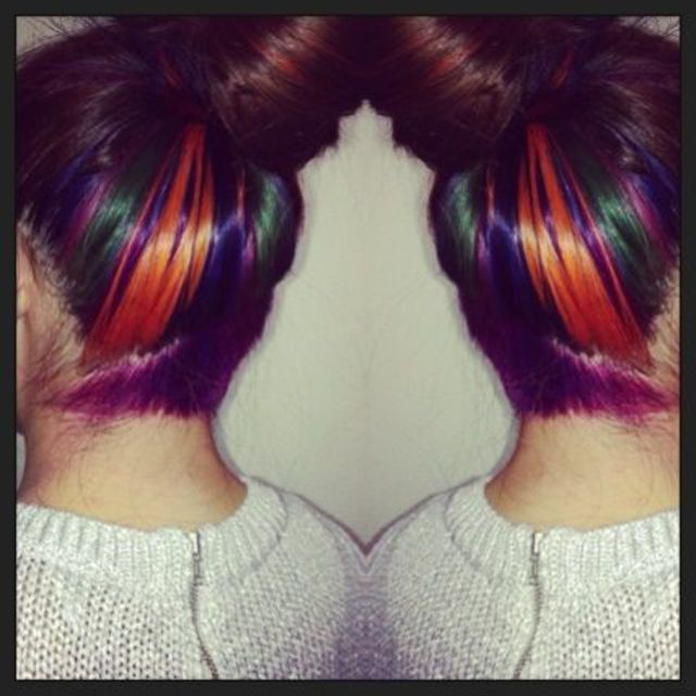 my multicoloured hair with an diagonal undercut