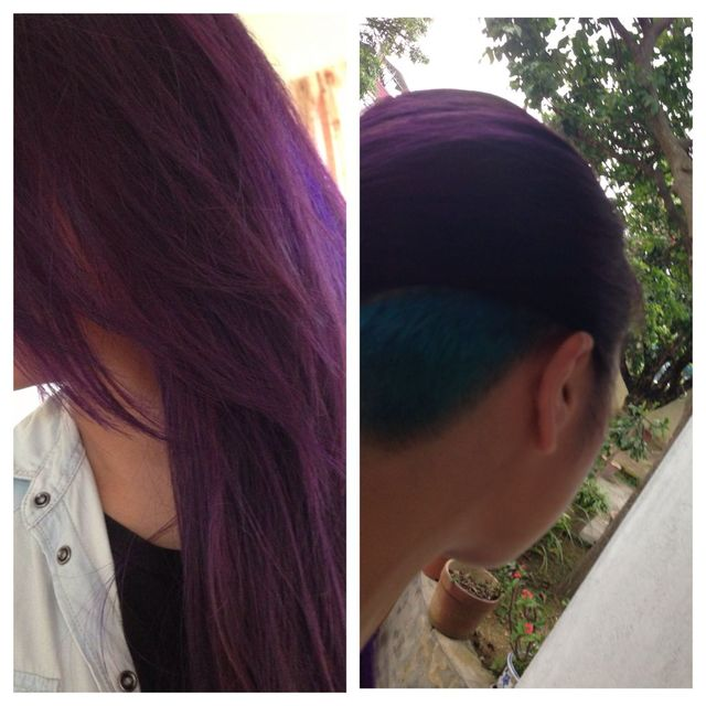 my purple hair with turquoise undercut