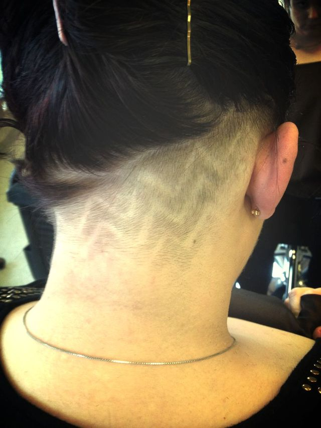 neck lines, hair tattoo