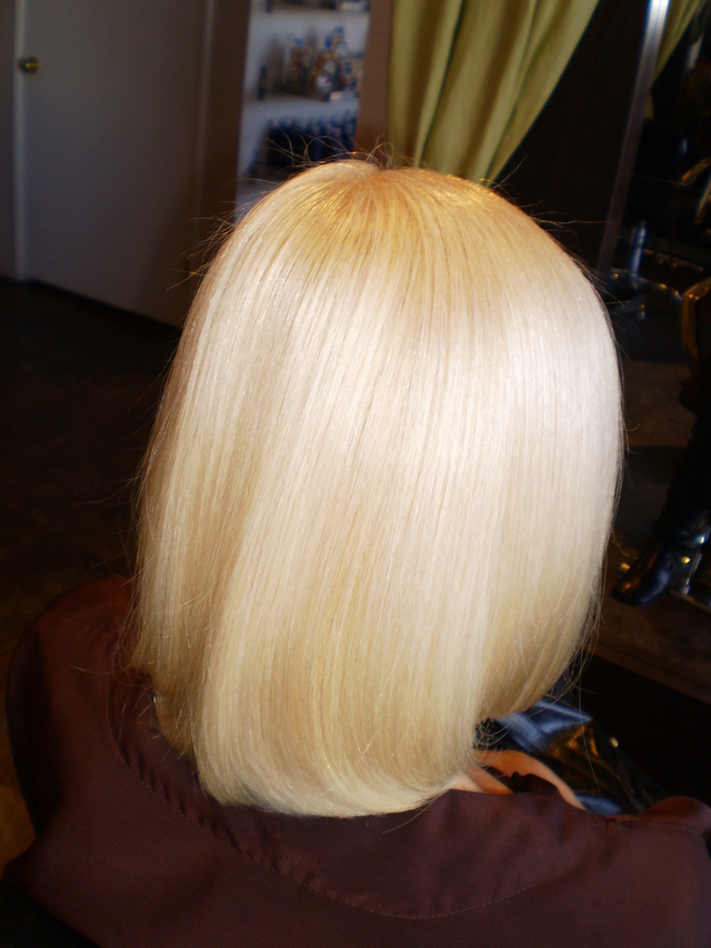 The after touch up of bleach and toner