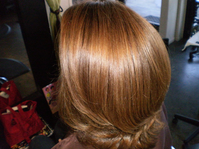 The after of the color/highlights/gloss i did on this client