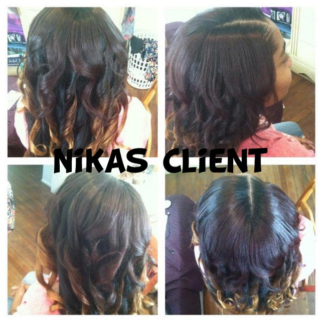 partial weave with curls