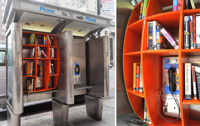 phone booth mini library
