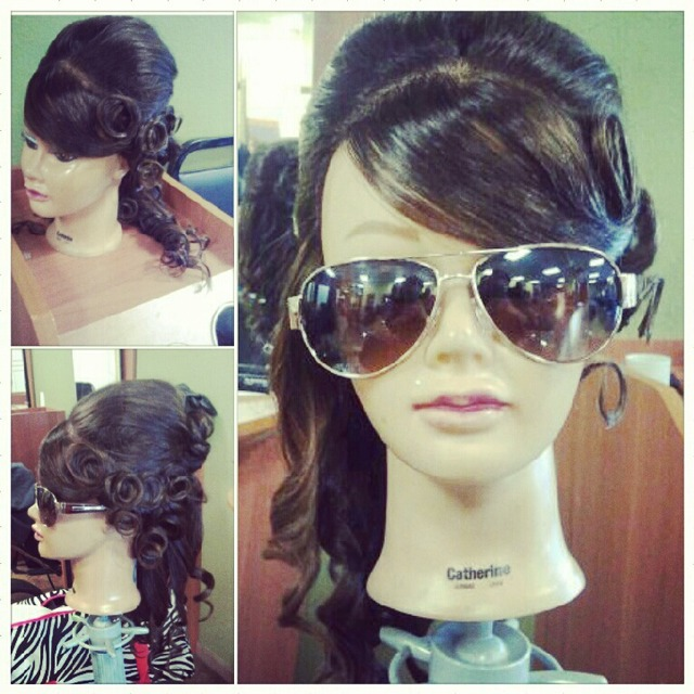 pin curls / side ponytail