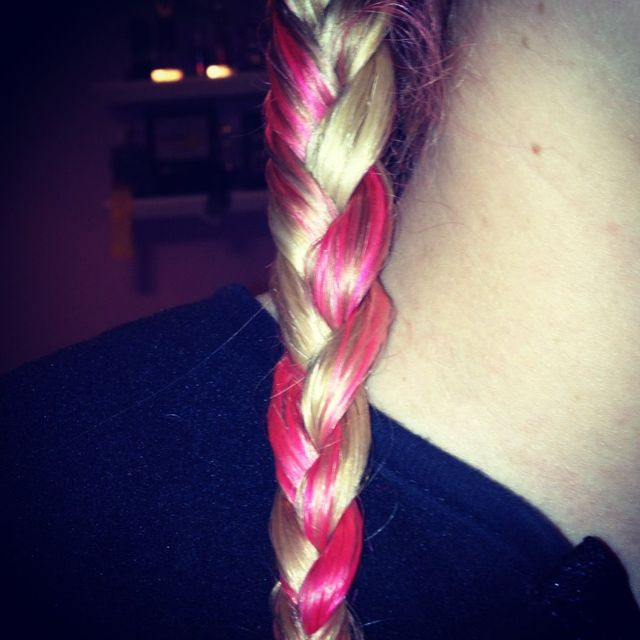 pink hair braid
