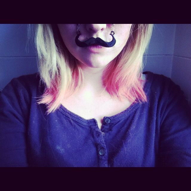 pink hair mustach glasses