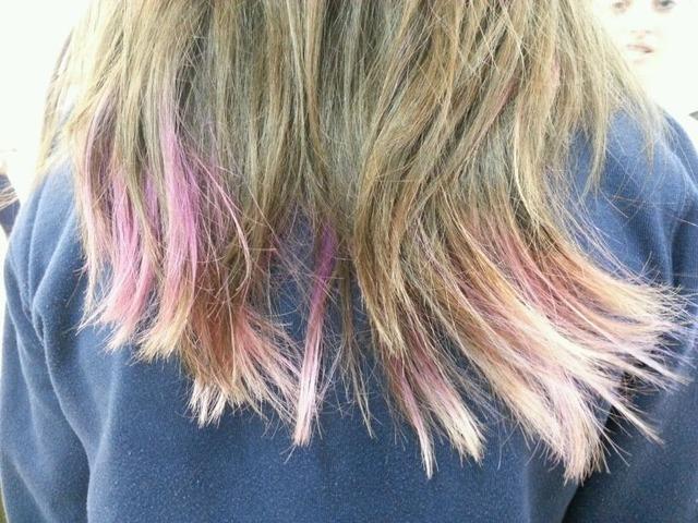 pink purple and blond