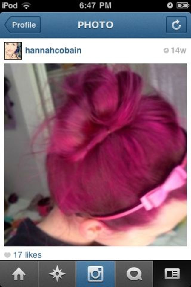 pink topknot.