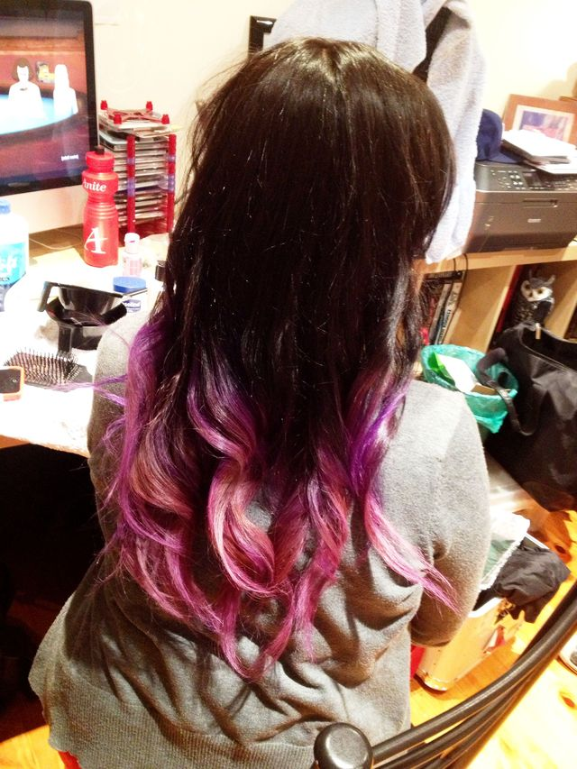 purple fade to pink balliage.