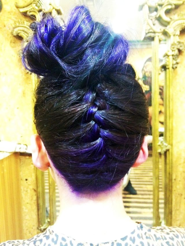 purple ombre / braid