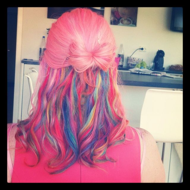 rainbow bow hair