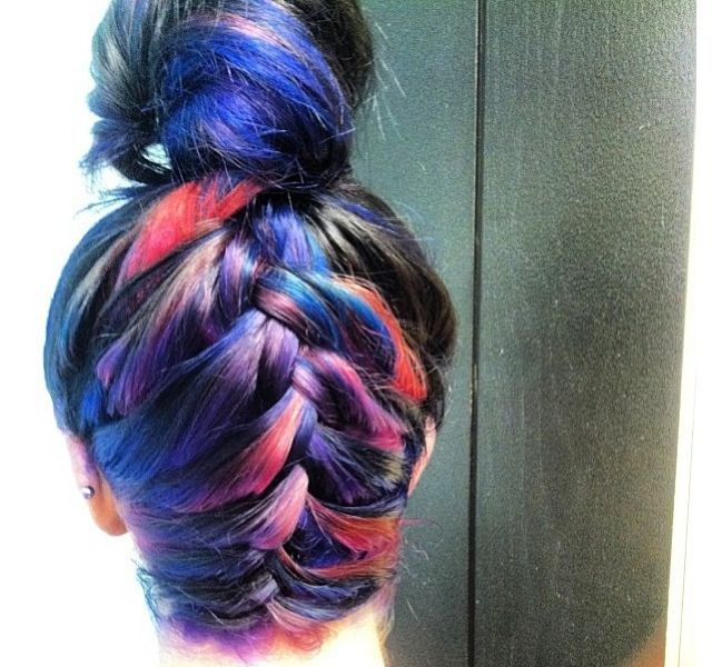 rainbow hair upside down braid