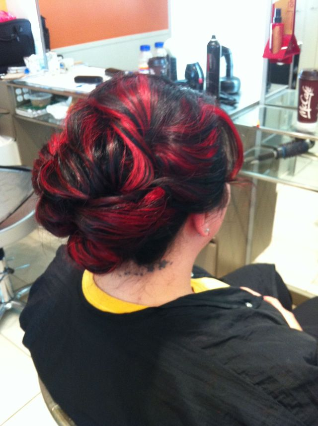 red & black updo
