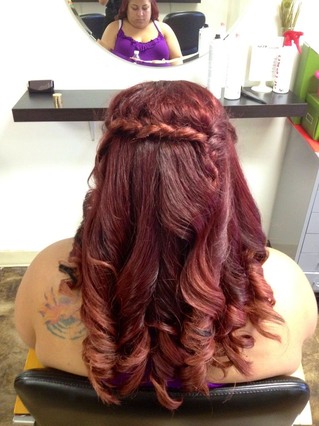 red ombré curls
