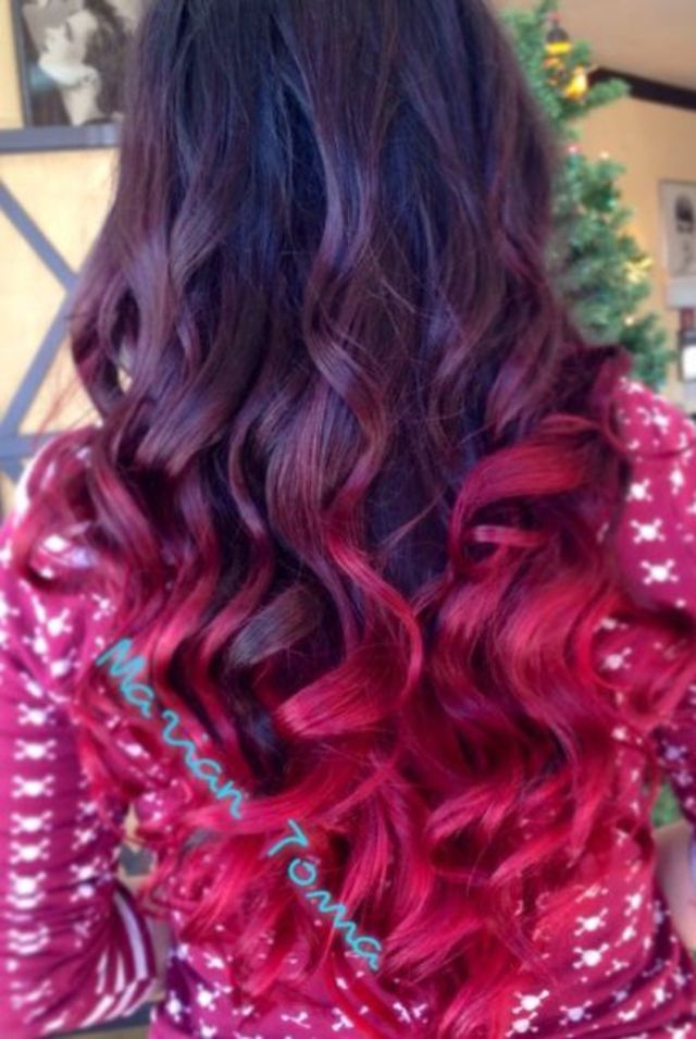 red ombre, tape extensions and a hot style to go with it! #MarianScissors