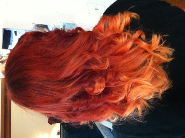 red ombre with curls