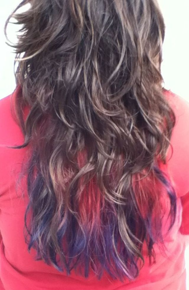 red/blue purple ombré