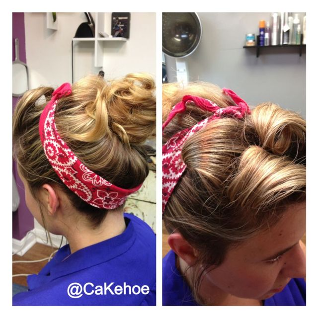 retro pinup hair with bandana