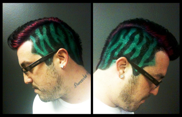 Teal zebra print mohawk with pink accents