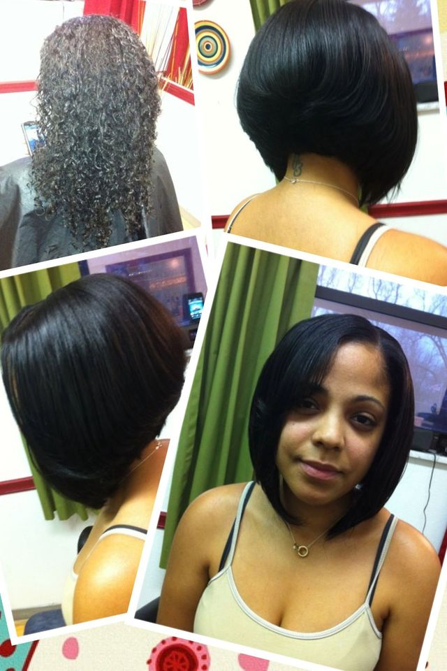 sew in asymmetrical bob
