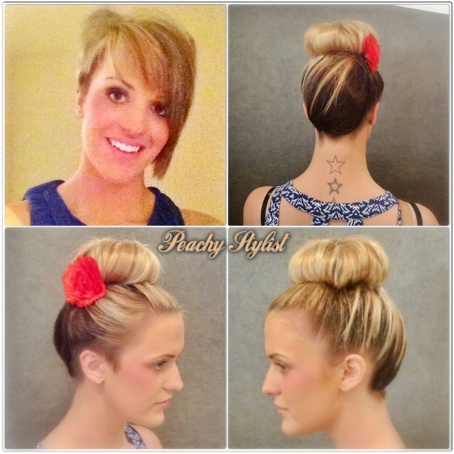 short back and side asymmetric cut transformed into an updo