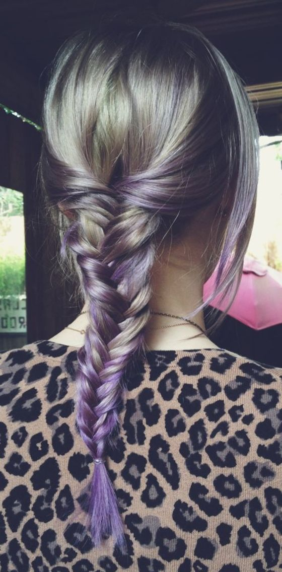 silver/lavender fishtail braid