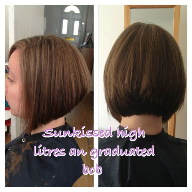 sun kissed highlights and graduated bob