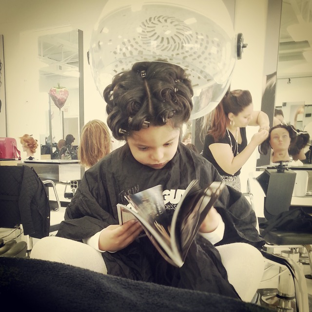 this princess in her first pin curl set..