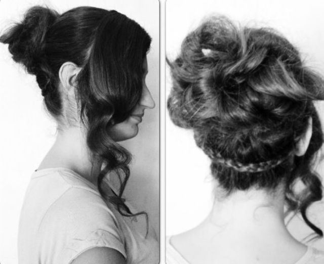 up-do.  after tongs. huge messy bun, plait around the whole hair behind bun to keep it in place and give it more of a creative look.