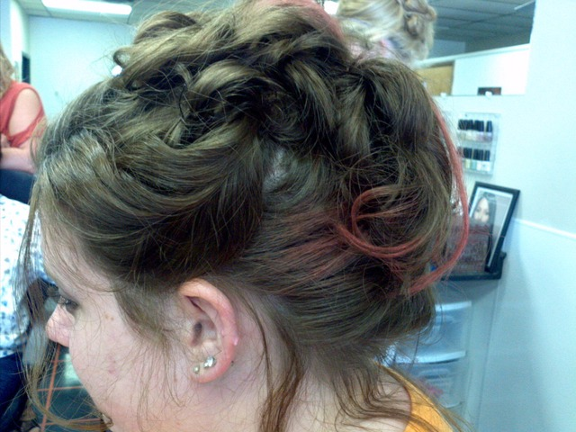 updo with a splash of color
