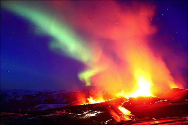 volcano northern lights