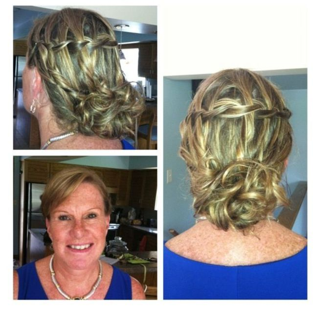 waterfall braid low bun