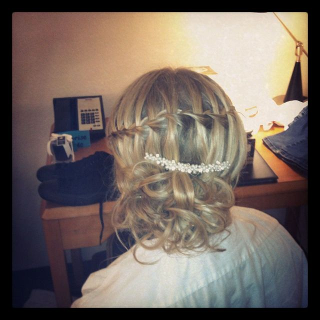 waterfall braid with side bun bride