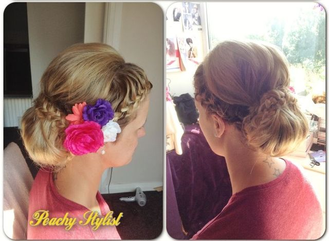wedding guest braided chignon
