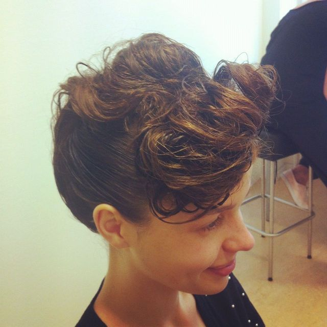 wet look, updo