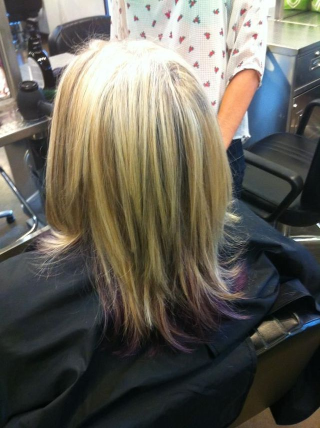 women's highlights and Aveda pure pigment violet